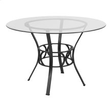 Carlisle 45'' Round Glass Dining Table with Black Metal Frame