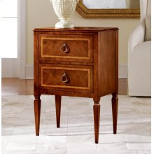 Small Two Drawer Commode, Walnut W/ Inlay