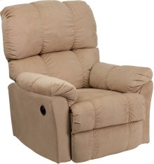 Contemporary Top Hat Coffee Microfiber Power Recliner with Push Button