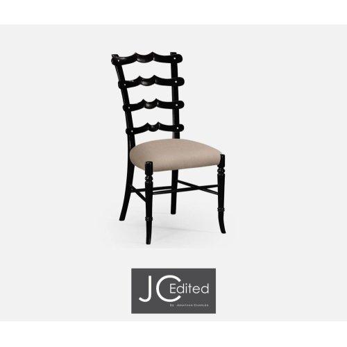 "Black ""Yoke"" Ladderback Side Chair, Upholstered in MAZO"