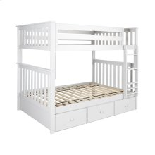 Full/Full Bunk   3 Drawer Storage White