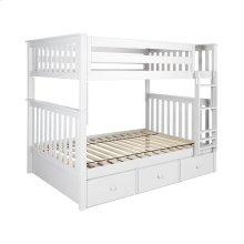 Full/Full Bunk   3 Drawer Storage White