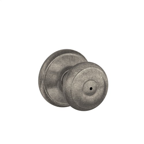Georgian Knob Bed & Bath Lock - Distressed Nickel