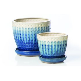 Cloquer Petits Pots w/ attached saucer, White/Blue - Set of 2 (Min 4 sets)
