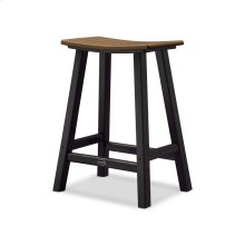 "Black & Teak Contempo 24"" Saddle Bar Stool"
