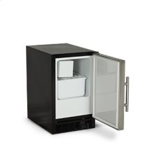 """Marvel 15"""" ADA Height Compact Crescent Ice Machine - Solid Black Door, Stainless Handle - Left Hinge"""