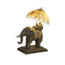 DECORATIVE ELEPHANT LAMP,TIGER PENSHELL ACCENTS & UMBRELLA, BRASS MONKEY, WOOD CARVD BASE