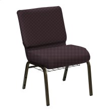 Wellington Cadet Upholstered Church Chair with Book Basket - Gold Vein Frame