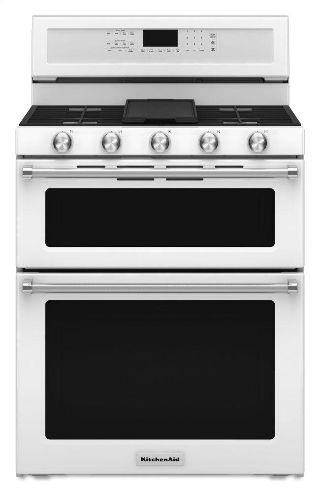 Kitchenaid30-Inch 5 Burner Gas Double Oven Convection Range - White