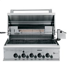 """GE Monogram® 36"""" Outdoor Cooking Center with 3 Grill Burners, Rotisserie, Smoker and Rack"""