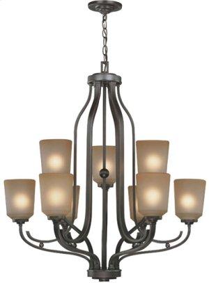 9-lite Chandelier, Dark Bronze W/L.AMBER Glass Shd, A 60wx9