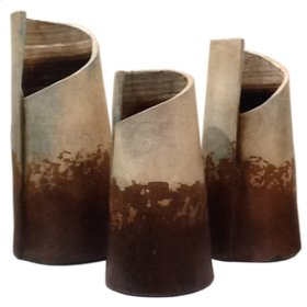 Water Blue: Rolled Clay Vases (Set of 3)