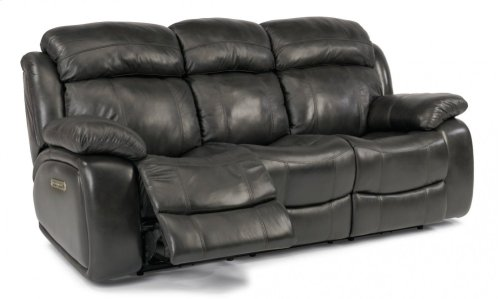 Como Leather Power Reclining Sofa with Power Headrests