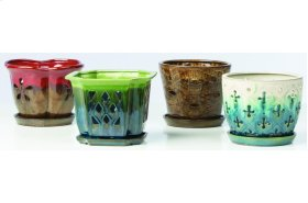 """7"""" Orchid Pots with Attached Saucer - Set of 4"""