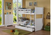 Sasha White Twin/Twin Bunkbed with Storage Drawer or Twin Trundle Bed Product Image