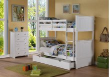 Sasha White Twin/Twin Bunkbed with Storage Drawer or Twin Trundle Bed