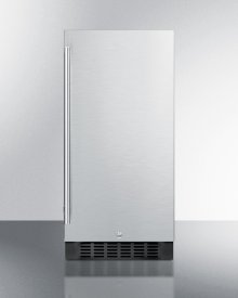 """15"""" Wide ADA Compliant All-refrigerator for Built-in or Freestanding Use, With Digital Controls, LED Light, Lock, and Stainless Steel Wrapped Exterior"""