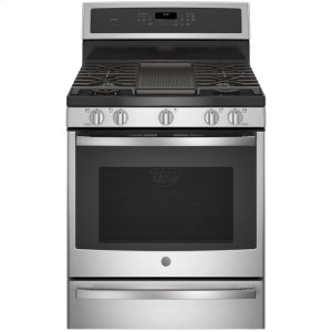 "GE Profile30"" Smart Dual-Fuel Free-Standing Convection Range with Warming Drawer"
