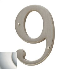 Polished Nickel with Lifetime Finish House Number - 9
