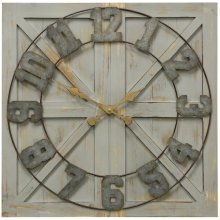 Wood and Galvenized Square Farmhouse Wall Clock  24in X 24in X 1in  Wall Clock