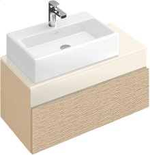 Vanity Unit - Bright Oak/Glass Crème