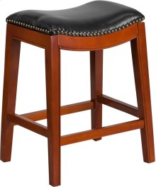 26'' High Backless Light Cherry Wood Counter Height Stool with Black Leather Saddle Seat