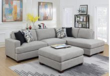 Lsf Loveseat-rsf Chaise W/4 Accent Pillows-granite Gray