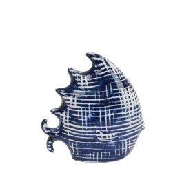 "Dark Blue/white Ceramic Fish 9.5"""