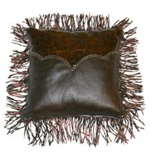 Med Leather Pillow W/Twisted Fringe