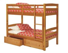 Pine Ridge Square Post Bunk Bed with options: Honey Pine, Twin over Twin