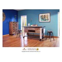 5 Drawer Kitchen Island w/ bottom shelf & casters