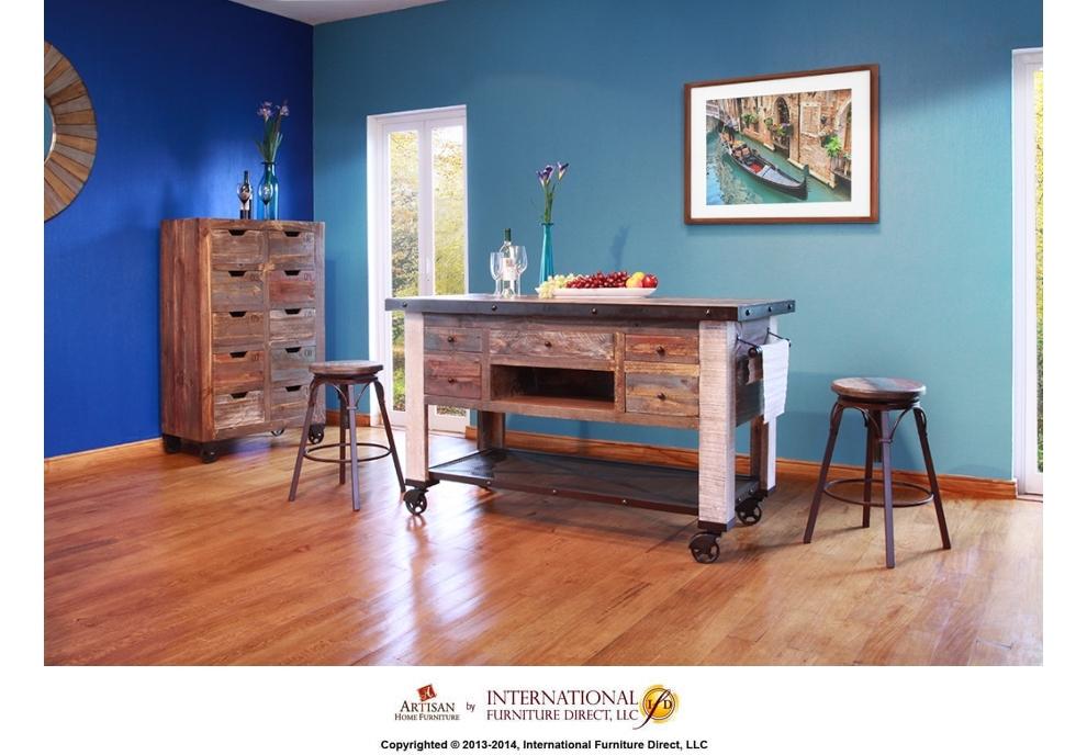 5 Drawer Kitchen Island W/ Bottom Shelf U0026 Casters