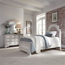 Twin Upholstered Bed, Dresser & Mirror