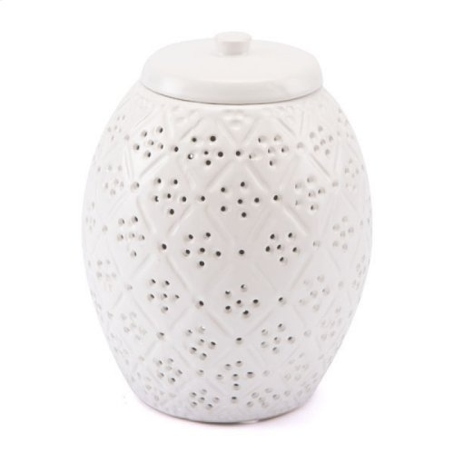 Floral Covered Jar White