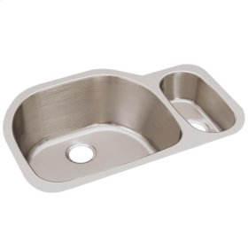 """Elkay Lustertone Classic Stainless Steel 31-1/2"""" x 21-1/8"""" x 10"""", Offset 70/30 Double Bowl Undermount Sink"""