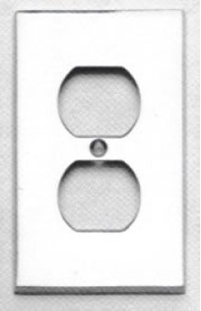 Duplex Receptacle Modern Switchplate - Solid Brass in US15 (Satin Nickel Plated, Lacquered)