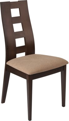 Preston Walnut Finish Wood Dining Chair with Window Pane Back and Brown Fabric Seat