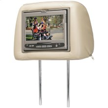 Dual universal replacement headrest system with built-in DVD player