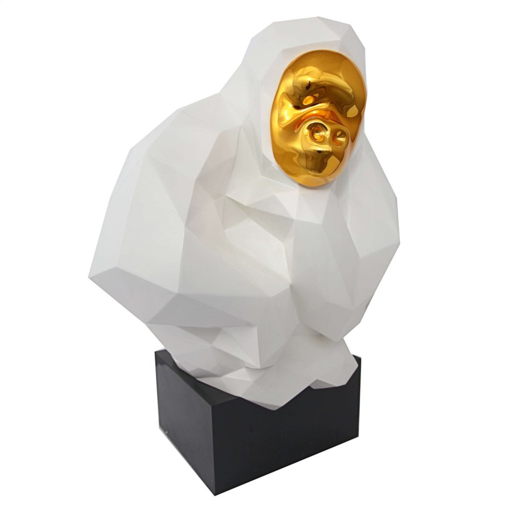 Pondering Ape Sculpture - White and Gold