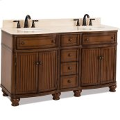 "60"" double vanity with walnut finish and simple bead board doors and curved shape with preassembled top and bowl"