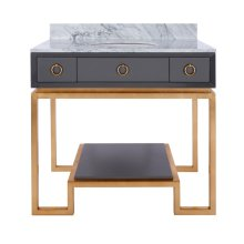 Grey Lacquer Bath Vanity Paired With Gold Leaf Base & Hardware