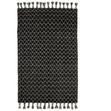 Black & White Kilim 5' x 8' Rug with Triangle Top Stitch and Braided Tassels.