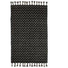 Black & White Kilim 5' x 8' Rug with Triangle Top Stitch and Braided Tassels.