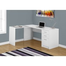 COMPUTER DESK - WHITE CORNER WITH TEMPERED GLASS