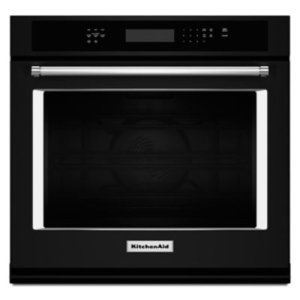 """KITCHENAID27"""" Single Wall Oven with Even-Heat True Convection - Black"""