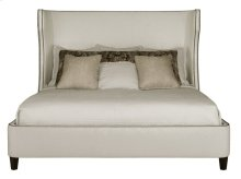 Queen-Sized Wheeling Upholstered Bed in Espresso