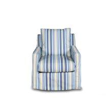 SU-159593-395245  Seaside Beach Striped Slipcovered Swivel Chair  Box Cushion  Track Arm