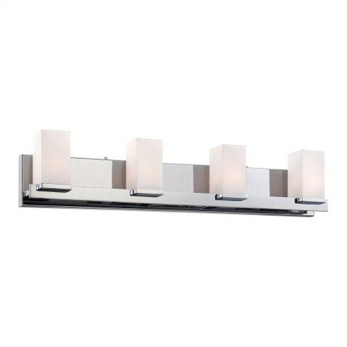 Sleek 4L bath and vanity w / white opal glass / chrome