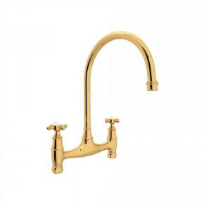 English Gold Perrin & Rowe Georgian Era Bridge Kitchen Faucet with Cross Handle