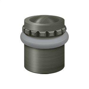 """Round Universal Floor Bumper Pattern Cap 1-1/2"""", Solid Brass - Antique Nickel"""
